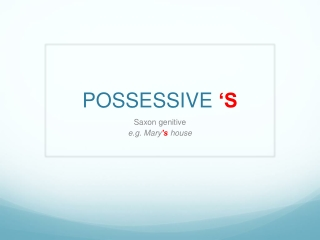 The Saxon Genitive or Possessive  s