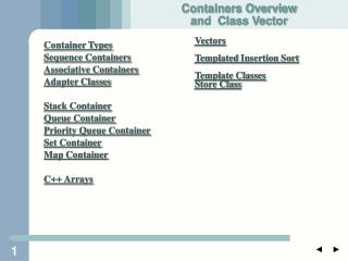 Container Types Sequence Containers Associative Containers Adapter Classes Stack Container