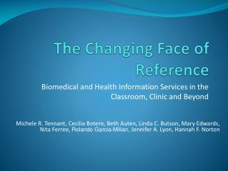 The Changing Face of Reference