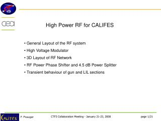 High Power RF for CALIFES
