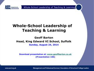 Whole-School Leadership of Teaching & Learning