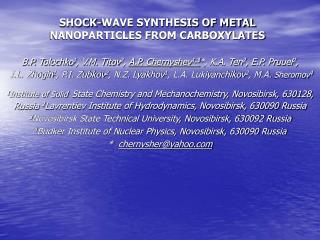 SHOCK-WAVE SYNTHESIS OF METAL NANOPARTICLES FROM CARBOXYLATES