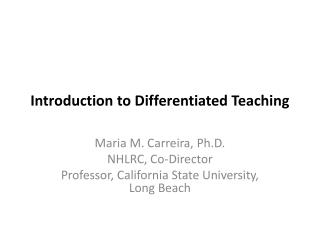 Introduction to Differentiated Teaching