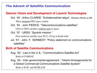The Advent of Satellite Communication