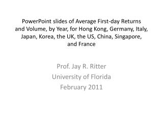 PowerPoint slides of Average First-day Returns  and Volume, by Year, for Hong Kong, Germany, Italy, Japan, Korea, the UK