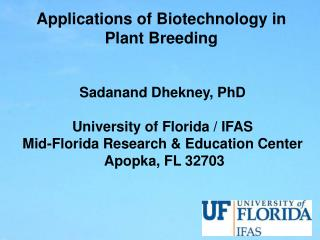 Applications of Biotechnology in Plant Breeding