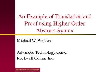 An Example of Translation and Proof using Higher-Order Abstract Syntax