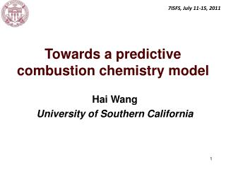 Towards a predictive combustion chemistry model