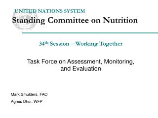 UNITED NATIONS SYSTEM Standing Committee on Nutrition