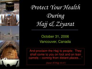 Protect Your Health During  Hajj & Ziyarat
