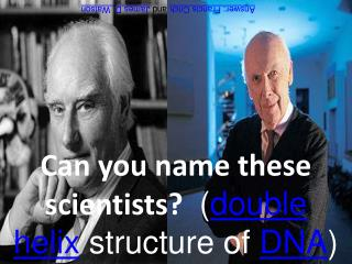 Can you name these scientists? ( double helix structure of DNA )