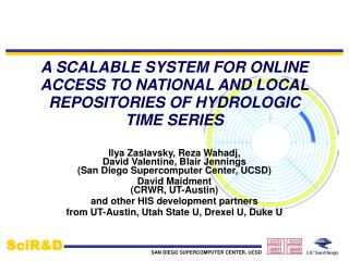 A SCALABLE SYSTEM FOR ONLINE ACCESS TO NATIONAL AND LOCAL REPOSITORIES OF HYDROLOGIC TIME SERIES