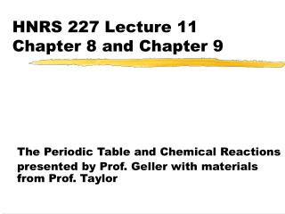 HNRS 227 Lecture 11  Chapter 8 and Chapter 9