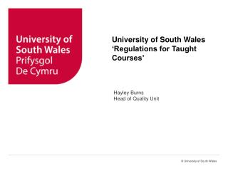 University of South Wales 'Regulations for Taught Courses'