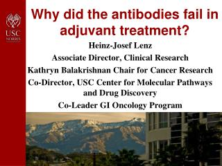 Why did the antibodies fail in adjuvant treatment?