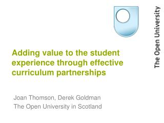Adding value to the student experience through effective curriculum partnerships