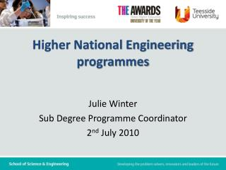 Higher National Engineering  programmes
