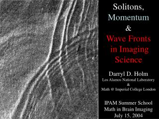 Solitons,  Momentum & Wave Fronts  in Imaging Science Darryl D. Holm Los Alamos National Laboratory & Math @ Imp