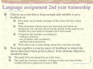 Language assignment 2nd year traineeship