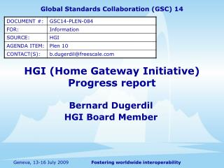 HGI  (Home Gateway Initiative) Progress report