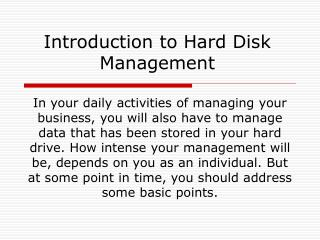 Introduction to Hard Disk Management