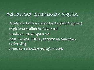 Advanced Grammar Skills