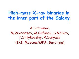 High-mass X-ray binaries in the inner part of the Galaxy