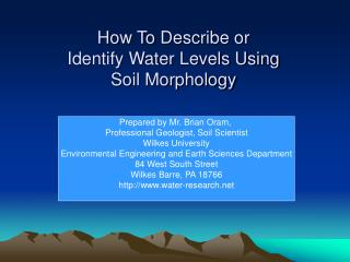 How To Describe or  Identify Water Levels Using Soil Morphology