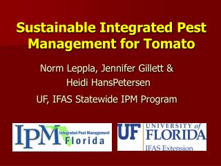 Sustainable Integrated Pest Management for Tomato