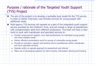 Purpose / rationale of the Targeted Youth Support (TYS) Project