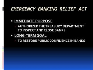 EMERGENCY BANKING RELIEF ACT