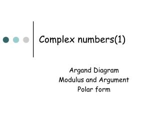 Complex numbers(1)