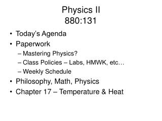 Physics II 880:131