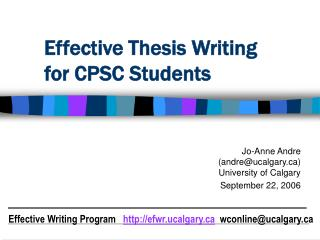 Effective Thesis Writing for CPSC Students