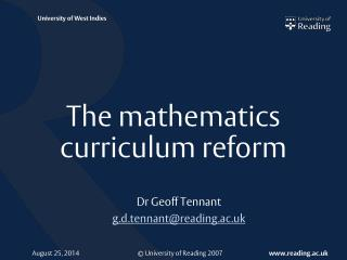 The mathematics curriculum reform