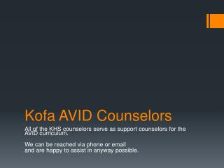 Kofa AVID Counselors