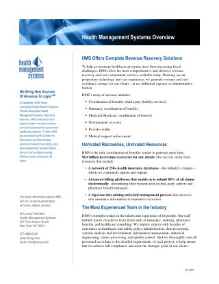 HMS Offers Complete Revenue Recovery Solutions