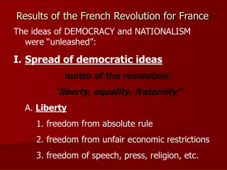 Results of the French Revolution for France