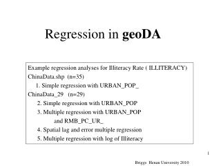 Regression in  geoDA
