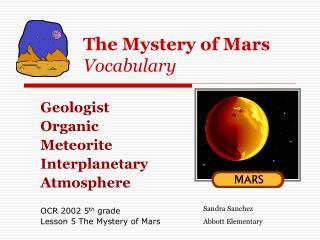 The Mystery of Mars Vocabulary
