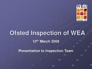 Ofsted Inspection of WEA