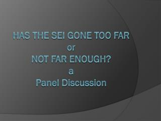 Has the SEI Gone Too Far or Not Far Enough? a Panel Discussion