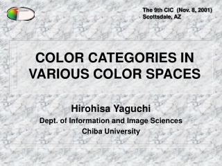 COLOR CATEGORIES IN VARIOUS COLOR SPACES