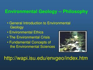 Environmental Geology -- Philosophy