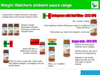 Weight Watchers ambient sauce range