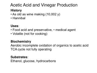 Acetic Acid and Vinegar Production