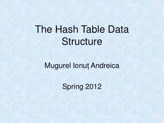 The Hash Table Data Structure