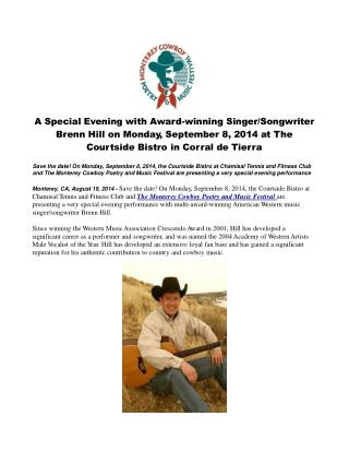A Special Evening with Award-winning Singer/Songwriter