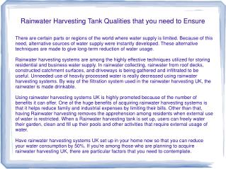 Rainwater Harvesting Tank Qualities that you need to Ensure
