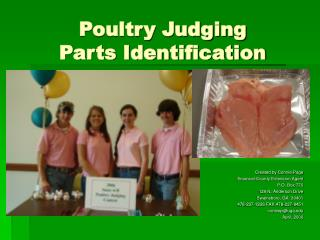 Poultry Judging  Parts Identification